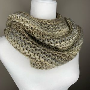 Steve Madden cowl knit scarf tan gold shimmer